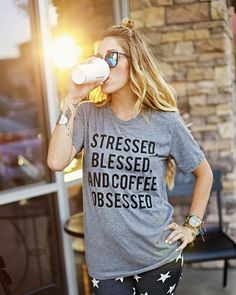 Because this tee says it alllllll! 🙏☕️🙌 #bestillclothingcompany #stressedblessedandcoffeeobsessed // Model: @brooklynninspired // Photo: @lauren_pollard_photography // Design: @adndesigns // For those asking.. I'm hoping to have most of these restocked in the next couple of weeks {hopefully sooner!}!! 😘😘