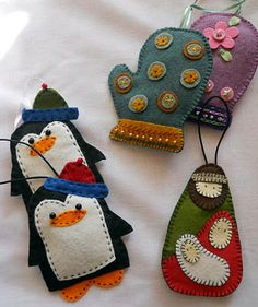 DIY, craft, sewn embroidery, felt love the nativity ornament, penguin and mitten tree ornaments.