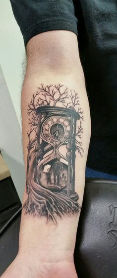Time, family, father and son, hour glass, tree, roots