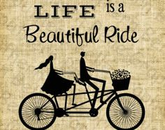 Life is a beautiful ride//Vintage Bicycle//Tandem//Bike//Silhouette//Vintage Image//Love//Hearts//Lovers//Digital design//INSTANT DOWNLOAD