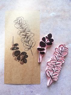 Huge eucalyptus rubber stamps for wedding invitation, botanical gift set, journal page insert, journ Stamp Printing, Screen Printing, Lino Art, Fabric Stamping, Rubber Stamping, Stamp Carving, Handmade Stamps, Tampons, Linocut Prints
