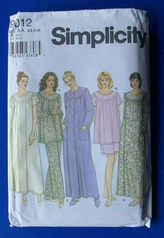 Simplicity Pattern 9012 Misses' Sleepwear Variety Sizes XS, S & M *Uncut