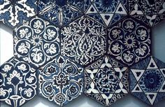 Image VA 010, Victoria & Albert Museum, London exhibit featuring decorated area, showing Geometric Pattern and Floriated Arabesque using ceramic tiles, mosaic or pottery.