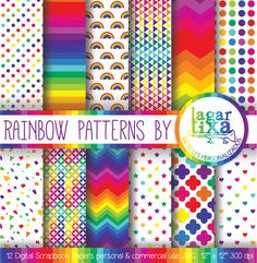 Rainbow Patterns Digital Paper Colours Geometric Background hearts chevron pink stripes polka dots scrapbooking