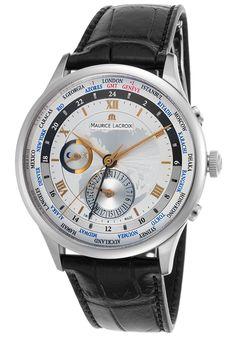 Maurice Lacroix MP6008-SS001-110 Watches,Men's Masterpiece Automatic GMT Black Gen Crocodile Silver-Tone Dial, Luxury Maurice Lacroix Automatic Watches