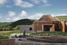 HDD's yurt-like visitor center blends into the vast landscape of mongolian grasslands