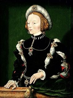 William Scrots (active 1537 - 1553), Portrait of Isabel of Portugal' circa 1550 - Museu Nacional de Poznan, Polónia