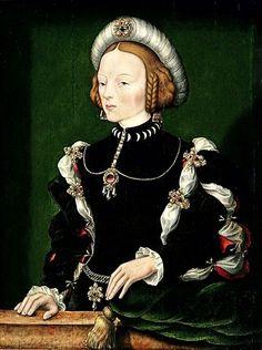 """William Scrots (activo entre 1537 e 1553), """"Retrato de Isabel de Portugal"""" (h. 1550) óleo sobre madeira 87, 5 x 66,5 cm Museu Nacional de Poznan, Polónia"""