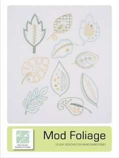 Mod Foliage hand embroidery pattern by KFNeedleworkDesign on Etsy
