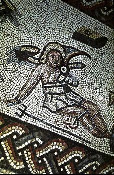 Gladiator  Bignor Roman Villa, Sussex  In this mosaic a retarius has been wounded by a secutor. The retarius traditionally wore a light tunic and girdle and was armed with a short sword, net and trident.