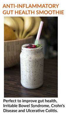 This smoothie will improve your digestion and settle your gut. The perfect healthy dairy free smoothie. This anti-inflammatory recipe is perfect smoothie for IBS, IBD and leaky gut.