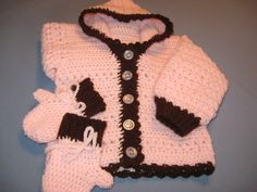 Toddler Size 2  Hooded Sweater with Mittens Crochet Pink and Brown OOAK - pinned by pin4etsy.com