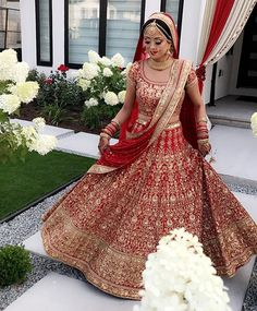 This deep red color bridal lehenga is in silk velvet embroidered with thread and zardozi work. Both Dupattas are in gold and red color . Indian Bridal Photos, Indian Bridal Outfits, Indian Bridal Fashion, Indian Bridal Wear, Indian Dresses, Indian Wear, Bridal Dresses, Indian Wedding Lehenga, Asian Wedding Dress