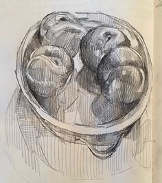 Plums in a dish. #Sketchbook by Sarah Sedwick. 7.29.16.