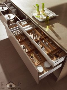 The Best Ideas From Stylish, Smart & Small Kitchen Storage - Elegant the Best Ideas From Stylish, Smart & Small Kitchen Storage, organization and Design Ideas for Storage In the Kitchen Pantry Bathroom Drawers, Kitchen Cabinet Drawers, Kitchen Drawer Organization, Kitchen Storage, Kitchen Decor, Kitchen Cabinets, Organization Ideas, Storage Ideas, Drawer Storage