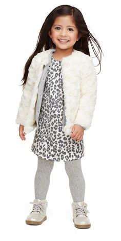 A furry adorable look for your little one this winter in an Old navy Leopard-print dress.