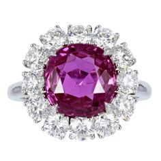 Ceylon Pink Sapphire And Diamond Ring