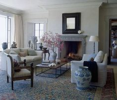 Soft blue and taupe tones living room