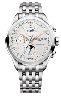 Discover the Clifton 10279 complete calendar watch for men with Swiss Made automatic movement, designed by Baume & Mercier, Manufacturer of Swiss Watches.