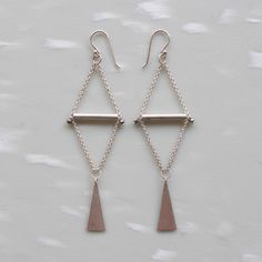 Bright Silver Triangle Earrings