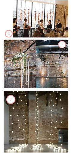 #8, gorgeous flowing lightbulbs for a backdrop of the procession & reception
