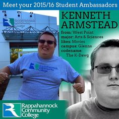 Meet one of our 2015/16 Student Ambassadors -- Kenneth! Actually he'd prefer you call him K-Dawg. Don't make him angry you won't like him when he's angry... Actually since he's been at RCC we haven't seen him Agra over anything yet. Whew (sigh of relief)! K-Dawg is a member of the team of students who are making things fun at RCC and if you want to know what's going on just stop by and ask! #RCC #virginia #vccs #rccfall #rappahannock #community #college #kdawg #kenneth #westpoint…