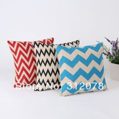 Chevron Zig Zag Linen Throw Cushion Cover Pillow Case for Home Decoration Christmas Gifts ,3 Pcs/Set,45*45CM