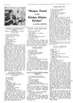 September 1943 ~ Refrigerator Rolls, Oat Flake Cookies, Yellow Angel Food Cake, Apricot Bread, Ham Loaf with Horse Radish Dressing, Home Made Soap, Orange Crescents