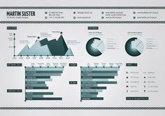 Infographic Resume examples for inspiration. Use these samples as an inspirational template to create your own personal Infographic Resume. Infographic Resume, Creative Infographic, Cv Inspiration, Graphic Design Inspiration, Design Ideas, Best Resume, Resume Cv, Resume Writing, Visualisation