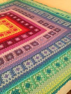 "So many beautiful things today! This one will knock your socks off! This is a Wendy Blanket, made by the talented Brenda Bippert Kempf from the Creative Crochet Crew Group. It was made with a ""Lucy Pack"" of Stylecraft DK. The pattern is available here: www.ravelry.com/... I guess this one is a ""Wendy/Lucy/Brenda Blanket""? Lol"