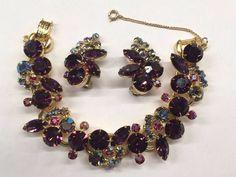 Juliana D&E Purple, Pink, AB Rhinestone Bracelet and Earring Set-Book Piece #JulianaDE