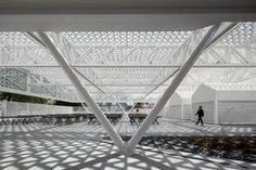 Perforated canopy shelters stalls at modernised Portuguese marketplace Arch Light, Canopy Shelter, Traditional Market, Geometric Tiles, Metal Canopy, Project, Ground Floor Plan, Garden Features, Pavilion