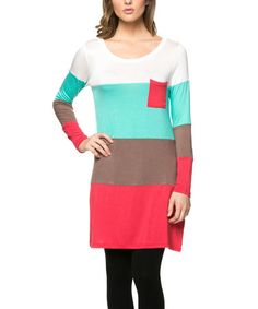 This Coral & Mint Stripe Tunic is perfect! #zulilyfinds