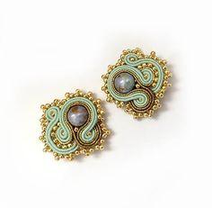 Small gold mint earstuds mint studs earrings Soutache by sutaszula
