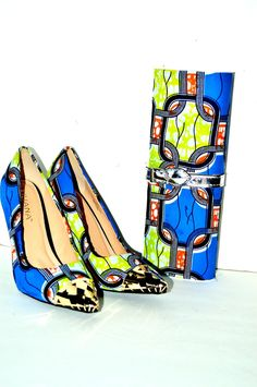 Beautiful African print shoes and purse set