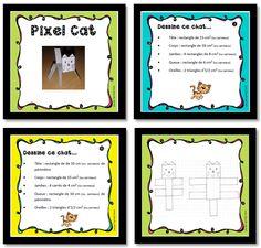 jeux de maths sur les aires et périmètres - pixel cat