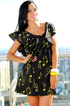 #1015store.com #fashion #style ruffled music notes printed dress-$10.00. Not too crazy about the yellow, but like the style nonetheless.