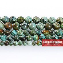 """Free Shipping Natural Stone African Turquoise Round Loose Beads 16"""" Strand 4 6 8 10 MM Pick Size For Jewelry Making No.TB11(China (Mainland))"""