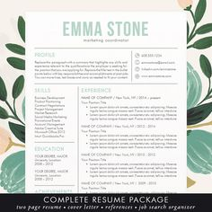 Beautiful, Modern and Unique Professional Resume / CV Template for Word (free cover letter too! Resume Design Template, Creative Resume Templates, Cv Template, Templates Free, Office Templates, Design Templates, Free Cover Letter, Cover Letter Template, Cover Letters