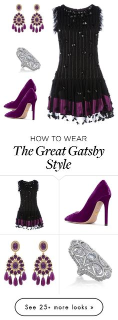 """Untitled #709"" by izzystarsparkle on Polyvore featuring RED Valentino, Kenneth Jay Lane, Bling Jewelry and Prada Great Gatsby Fashion, 20s Fashion, The Great Gatsby, Art Deco Fashion, Black Outfits, New Outfits, Flapper Outfit, Gatsby Style, Roaring 20s"