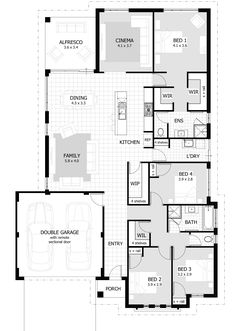 Contempo Collection Home Designs Floor Plan 4 Bedroom, 4 Bedroom House Plans, New House Plans, Dream House Plans, Modern House Plans, Small House Plans, House Floor Plans, Home Decor Bedroom, Building Plans