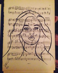 Adele inked on 100 year old sheet music. #Adele #hello art #portrait #music #musical #artist #portrait #woman #face #lineart #ink #sheetmusic #history #oneofakind #drawing #unusual #old #painting #drawing #design by dazzafield
