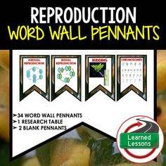 Reproduction and Heredity Word Wall 46 Pennants (Life Science Word Wall)VISIT MY STORE AND FOLLOW TO GET UPDATES WHEN NEW RESOURCES ARE ADDED This is a WORD WALL set that has 34 words included.  Buy now and save $$$.   Includes 2 to a page banner pennant word wall.