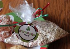 Reindeer Food - oatmeal, sparkles, sugar (to be sprinkled on lawn to attract Santa and Reindeer at Christmas).  Can use mini-ziplocks.