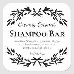 Black Vintage Relaxing DIY Bath Salt Labels | Zazzle.com Solid Shampoo, Shampoo Bar, Diy Bath Salt Labels, Cocoa, Diy Body Wash, Diy Body Butter, Shea Butter, Homemade Shampoo, Homemade Conditioner