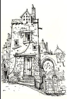 Fine linework and different thickness shows texture of the building Sketchbook Drawings, Drawing Sketches, Art Drawings, Drawings Of Buildings, Art And Illustration, Drawn Art, Landscape Drawings, Urban Sketching, Pen Art