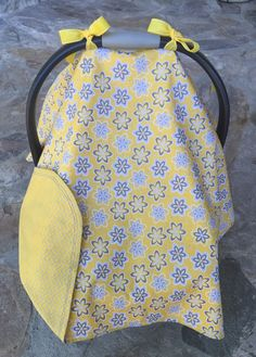 Yellow and grey floral chevron car seat canopy by BBsBanners