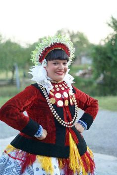 Croatian girl dressed up in traditional Slavonian national costume