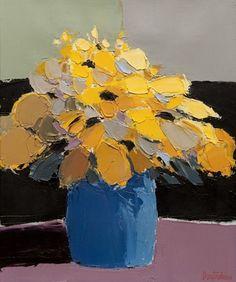 Bouquet par Pierre Doutreleau Flower Vases, Flowers, Bouquet, Pastel, Watercolor Portraits, Blue Yellow, Cute, Plants, Painting