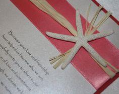 Invitación de boda de playa coral estrella de mar